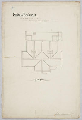 Design for Residence A for W.H.S Roberts Esq, Oamaru