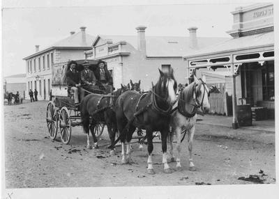 Mount Cook Coach (Wagon & 4 Horses) leaving Kurow, 1898