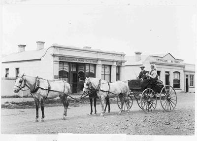 Couple in Cart, Main Street Kurow, c. 1899