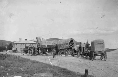 Horse-drawn threshing mill, Duntroon (?)