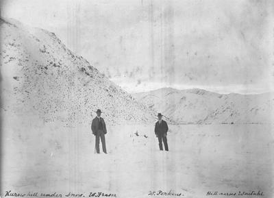 Kurow Hill under snow. W. Fraser, left, and W. Perkins, right