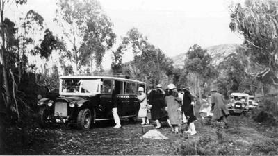 Picnic at Trotter's Gorge. Whittaker's Bus, c.1929