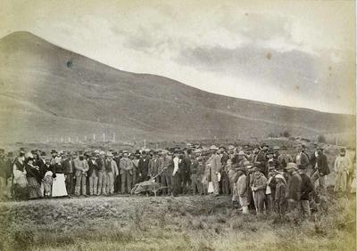 Superintendent James Macandrew. Turning first sod for Moeraki Dunedin railway at Palmerston