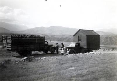 Kurow Motor Garage trucks passing on the road