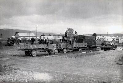 Kurow Motor Garage and Service Co. Ltd. Staff and trucks. Baker's oven