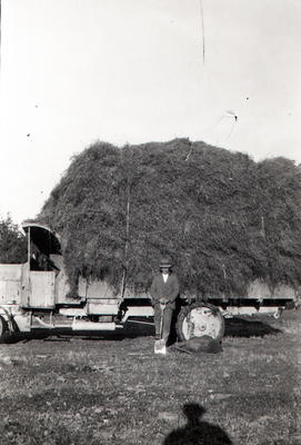 Kurow Motor Garage truck moving hay