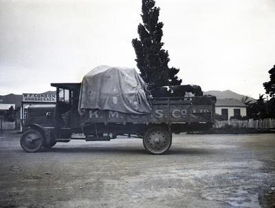 Kurow Motor Garage Service Co. Ltd. truck. W F Condon Hairdresser's, Kurow