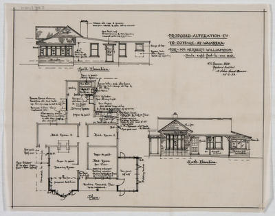Proposed Alteration etc to Cottage at Waiareka for Mr Herbert Williamson