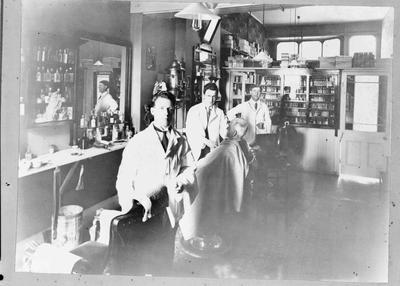 Interior, hairdressing shop. Not identified.