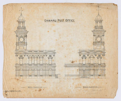 Oamaru Post Office - North Elevation and South Elevation