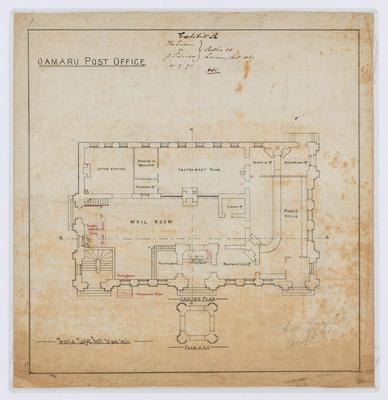 Oamaru Post Office - Ground Floor Plan (laminated); Forrester, Thomas (b.1838, d.1907); FG1984.47.1