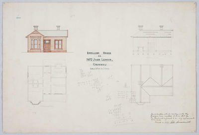 Dwelling House for Mrs John Lemon, Oamaru
