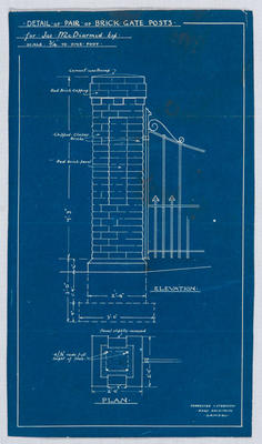 Detail of pair of brick gate posts for Jas McDiarmid Esq (Blueprint)