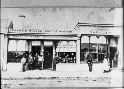 Kearns & McLean, bootmakers; Robert W Adair, watchmaker and jeweller; J Waddell, saddler Itchen Street