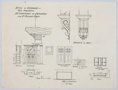 Detail of Cupboard in Old Fiireplace, Alterations to Residence for R Milligan Esq