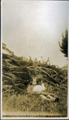 Little girl with rabbit
