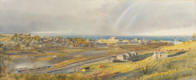 Untitled (view of Oamaru from artist's Lune Street residence c. 1878)