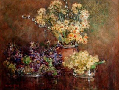 Still Life, Violets and Jonquils in Three Bowls