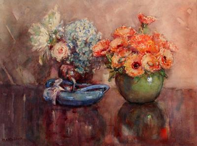 Still Life, Green and Brown Vases of Flowers