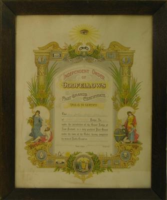 Fox, John Robert Past Grand's Certificate  Star of Papakaio Lodge no 72, IOOF