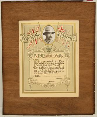 Illuminated address presented to relatives of Private J. S. Hallett