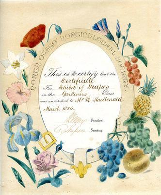 Mr R Macdonald. North Otago Horticultural Society certificate
