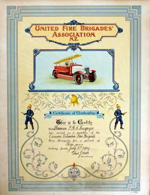 MacGregor, PRA Three year membership in Oamaru Volunteer Fire Brigade