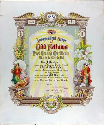 Mackie, J. Alfred IOOF Lodge Certificate