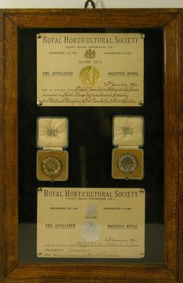 Medals and certificates from NZ and South Seas Exhibition Horticultural Show
