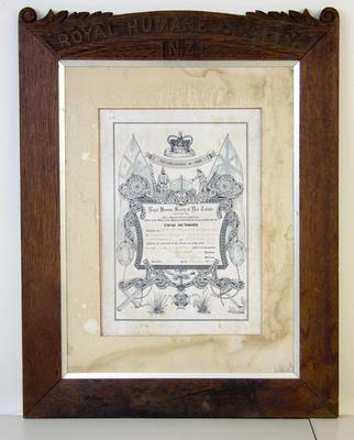 Nichol, Mary.  Royal Humane Society Certificate