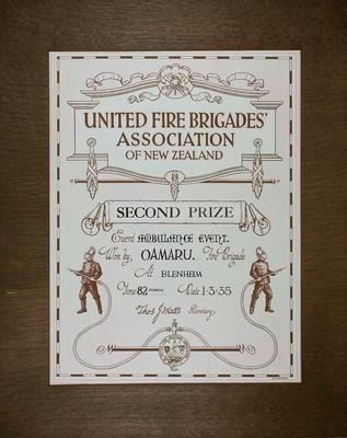 Oamaru Volunteer Fire Brigade Second Prize Certificate