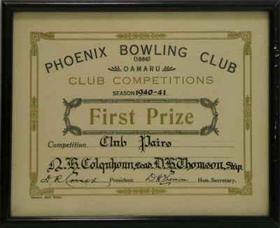 Colquhoun, N H  & Thomson, D H . Phoenix Bowling Club certificate