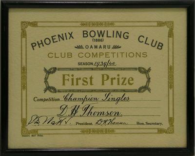 Thomson, D H. Phoenix Bowling Club certificate