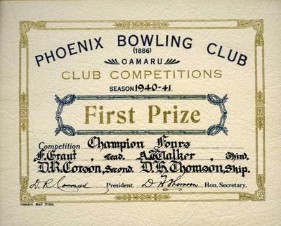 Thomson, D H. Carson, D R. Walker, A . Grant, F . Phoenix Bowling Club certificate