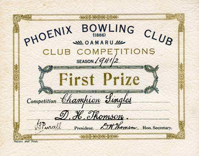 Thomson, D H. Phoenix Bowling Club Competitions certificate
