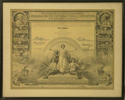 Wharton, J. USA Panama-Pacific International Exposition Gold Medal certificate