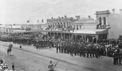 Imperial troops parade in Thames Street, Oamaru