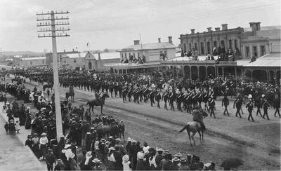 Imperial troops parade  in Thames Street, Oamaru.