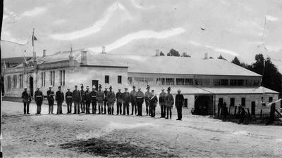 Volunteer officers in front of new Drill Hall, Itchen Street, Oamaru