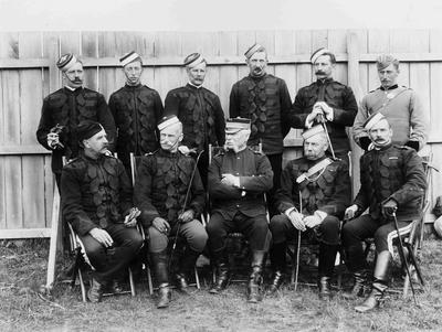 Otago Hussars (soldier back row 6 from left, from North Otago Mounted Rifles).