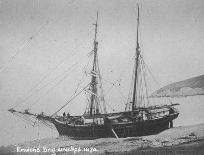 "Wrecked Brig ""Emulous"" Oamaru Harbour"