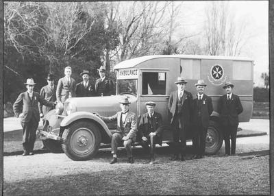 St John Ambulance Brigade officers and ambulance