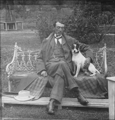Egerton Humphries Reid and dog. Elderslie Estate