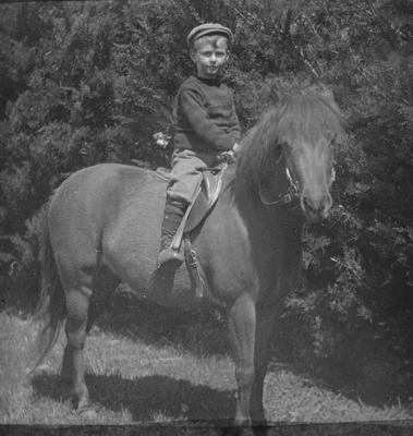 George Reid on horseback.  Elderslie Estate