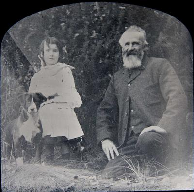 Man, girl and dog. Unidentified. Elderslie Estate