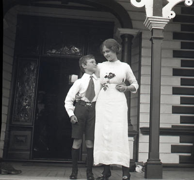 Young woman and boy unidentified. Elderslie Estate
