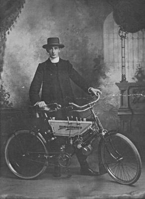 Dean O'Reilly circa 1940s with Motor Bicycle