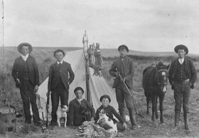 Oamaru youths hunting at Kakanui, 1890.