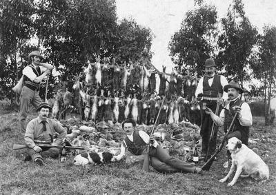 Rabbit shooters, c.1900
