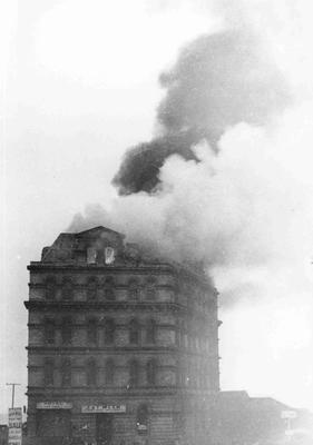 Meek's Elevator on Fire, 1920